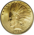 1932 $10 MS65 PCGS. The 1932 Indian ten is the only common date gold coin in the 1930s, and this Gem is a desirable piec...