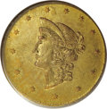 "California Fractional Gold: , 1870 $1 Goofy Head Round 1 Dollar, BG-1205, High R.4, AU55 PCGS.The ""Goofy Head"" late Period Two varieties are distinctive..."