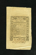 Colonial Notes:Rhode Island, Rhode Island May 1786 £3 Very Fine. This note has been signed byall three signers. Yet it stll has a large amount selvage ...
