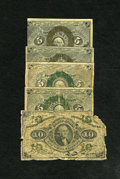 Fractional Currency:Second Issue, Fr. 1232 5c Second Issue. Four Examples. Very Good or Better. The bronze overprint shows signs of oxidizing on a couple of t... (Total: 5 notes)