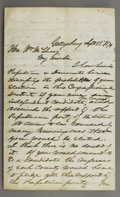 """Autographs:Statesmen, David Wills, Lincoln's Host in Gettysburg, Autograph Letter Signed,3 pages, 5"""" x 8"""", Gettysburg, Sept. 18, 1874, to the Hon..."""