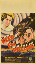 "Movie Posters:War, Keep 'Em Rolling (RKO, 1934). Midget Window Card (8"" X 14"")...."