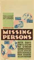 """Movie Posters:Crime, Bureau of Missing Persons (First National, 1933). Midget WindowCard (8"""" X 14"""")...."""