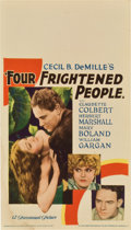 "Movie Posters:Drama, Four Frightened People (Paramount, 1934). Midget Window Card (8"" X14"")...."
