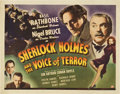 """Movie Posters:Crime, Sherlock Holmes and the Voice of Terror (Universal, 1942). HalfSheet (22"""" X 28"""")...."""
