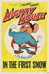 """Mighty Mouse """"In the First Snow"""" (20th Century Fox, 1943). Stock One Sheet (27"""" X 41"""")"""