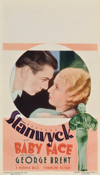 "Baby Face (Warner Brothers, 1933). Midget Window Card (8"" X 14"")"