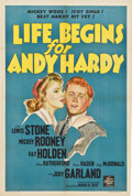 """Movie Posters:Comedy, Life Begins for Andy Hardy (MGM, 1941). One Sheet (27"""" X 41"""") StyleD...."""