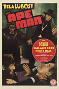 "Movie Posters:Horror, The Ape Man (Monogram, 1943). One Sheet (27"" X 41"") and Lobby Card(11"" X 14"").... (Total: 2 Items)"
