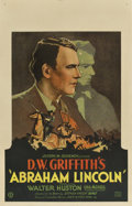 """Movie Posters:Drama, Abraham Lincoln (United Artists, 1930). Window Card (14"""" X 22"""")...."""