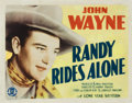 """Movie Posters:Western, Randy Rides Alone (Monogram, 1934). Title Lobby Card (11"""" X 14"""")...."""