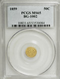 California Fractional Gold, 1859 50C Liberty Round 50 Cents, BG-1002, High R.4, MS65 PCGS....