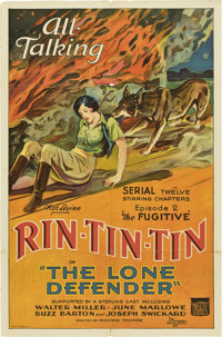 """The Lone Defender (Mascot, 1930). One Sheet (27"""" X 41"""") Episode 2-- """"The Fugitive."""""""