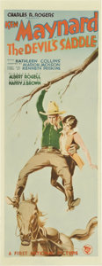"""Movie Posters:Western, The Devil's Saddle (First National, 1927). Insert (14"""" X 36"""")...."""