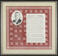 "Political:Textile Display (1896-present), Theodore Roosevelt: ""We Want Teddy"" Bandana, 18"" x 18"", matted andframed to 22.50"" x 22.50"" overall. Beautiful red & white ..."