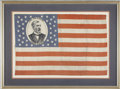 "Political:Textile Display (pre-1896), James G. Blaine: Scarce 1884 Silk Campaign Flag, 15.5"" x 23.5"". The flag has Blaine's image in the blue field. The sheen of ..."