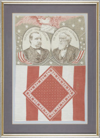 """Cleveland & Thurman: A Colorful 1888 Jugate Cloth Campaign Banner. Known to collectors as the """"Screaming Eagle&..."""