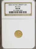California Fractional Gold, 1854 $1 Liberty Octagonal 1 Dollar, BG-510, Low R.5, AU58 NGC....