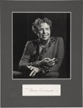 "Autographs:U.S. Presidents, Eleanor Roosevelt: Signature with Reproduced Photograph.. -No date.No place. Reproduced photograph: 7.5"" x 8.5"". Clipped si..."