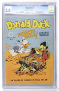 Golden Age (1938-1955):Cartoon Character, Four Color #9 Donald Duck (Dell, 1942) CGC GD 2.0 Off-white to white pages....