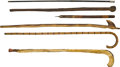 Antiques:Folk Art, Walking Sticks and Canes: Lot of Six, including: two African woodsticks; a crook-handled flamed bamboo cane; a black painte...(Total: 6 Items)