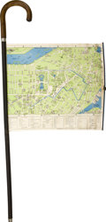 "Antiques:Folk Art, Map Cane: with Cloth Backed Map of the City of Boston. With acrooked handle and an 18.5"" x 13.5"" rollout, cloth map of Bost..."