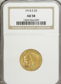 Indian Half Eagles: , 1914-S $5 AU58 NGC. NGC Census: (399/368). PCGS Population (150/278). Mintage: 263,000. Numismedia Wsl. Price for NGC/PCGS ...