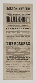 "Miscellaneous:Ephemera, John Wilkes Booth Playbill. Broadside, 6"" x 14.5"", Boston, May 21,1862, printed by F. A. Searle for a performance of John W..."
