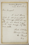 """Autographs:Celebrities, [Thomas """"Tad"""" Lincoln] Manuscript Letter Written and Signed for Him as """"Thomas Lincoln / Your Friend / Tad"""", one page, 5... (Total: 2 Items)"""