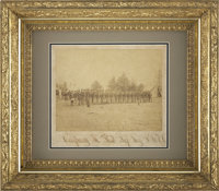 """Albumen View, 8½"""" X 6½"""", of """"Company K First Inf. Reg. P.R.V.C."""" The company is lined..."""