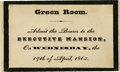 Political:Small Paper (pre-1896), Pass to Green Room for Lincoln's Funeral. Special pass to Lincoln's official funeral held in the White House. The observance...
