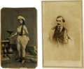 Autographs:Celebrities, John Wilkes Booth and Girlfriend Photographs. No imprint, quiteclean, full board, together with a prohibitively rare cart...(Total: 2 Items)