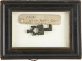 """Political:Presidential Relics, Key from Lincoln's Tomb. Ornate jointed bronze """"key"""", or portion of a locking mechanism, about 2.5"""" long; framed with its or..."""