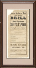 "Military & Patriotic:Civil War, Theater Broadside For Drill Demonstration by Collis's Zouaves. Measures 8"" x 18"", printed by U. S. Job Printers. Philadelphi..."