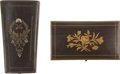 Political:Presidential Relics, Mary Todd Lincoln's Sewing Kit, comprised of a tiny polished wood box decorated with a floral motif on the cover, brass hing... (Total: 2 Items)