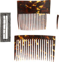 Political:Presidential Relics, Pair of Curved Tortoise Shell Hair-Setting Combs Owned and Worn by Mary Todd Lincoln. Each dark brown and tan comb is about ... (Total: 3 Items)