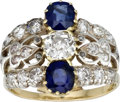 Estate Jewelry:Rings, Diamond, Sapphire, Platinum-Topped Gold Ring. ...
