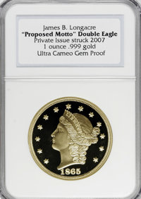"Private ""Proposed Motto"" 1865 Double Eagle Pattern Restrike Ultra Cameo Gem Proof NGC....(PCGS# 62401)"