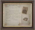 "Political:Presidential Relics, A Piece of the Splint Made by Dr. Samuel Mudd for John Wilkes Booth about 2"" x 1.5"", made of thin wood reinforced with fabri..."