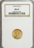 Indian Quarter Eagles: , 1914-D $2 1/2 MS62 NGC. NGC Census: (2800/1938). PCGS Population(1435/1454). Mintage: 448,000. Numismedia Wsl. Price for N...