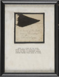 """Political:Presidential Relics, Small """"piece of the cloth covering Lincoln's catafalque"""", mounted on a piece of ornately blind-embossed paper (w..."""