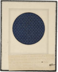 """Political:Presidential Relics, A Fabric Swatch Purportedly from the Upholstery of Lincoln's Carriage. A 3.5"""" x 3.5"""" sample of blue cloth, apparently mounte..."""