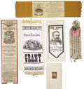 Political:Ribbons & Badges, A Group of Six Ulysses S. Grant Memorial and Campaign Items.... (Total: 6 Items)