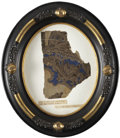 Political:Presidential Relics, Fragment of Blue and Bronze Patterned Wallpaper from Abraham Lincoln's Bedroom in his Springfield House. Under glass in an a...