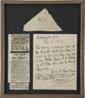 "Political:Presidential Relics, A Piece of Blood-Stained Bandage from Abraham Lincoln's Deathbed. A triangular piece of cloth (about 4.5"" at longest edge) w..."