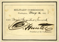 """Military & Patriotic, David Hunter Signed Pass to the Lincoln Conspirators' Trial. Onepass, 4"""" x 2.75"""", Washington, May 26, 1865. This pass is ma..."""
