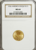 Commemorative Gold: , 1926 $2 1/2 Sesquicentennial MS64 NGC. NGC Census: (2511/957). PCGSPopulation (4061/1796). Mintage: 46,019. Numismedia Wsl...