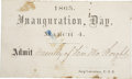 Political:Presidential Relics, 1865 Inauguration Ticket. A prohibitively rare ticket to the inauguration ceremonies in Washington, March 4, 1865. We believ...
