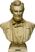 """Political:3D & Other Display (1896-present), Massive Plaster Bust of a Bearded Lincoln. A hollow bust standing 31"""" tall. Signed on back of base by the maker """"Boston Scul..."""