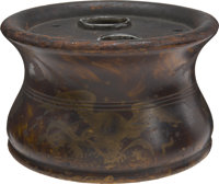 Abraham Lincoln's Circular Wooden Inkstand. A substantial relic, made from a single block of wood tapered in the midd